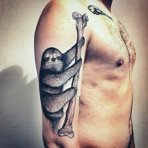 Masculine Sloth Hanging On Bone Mens Arm Tattoo Designs