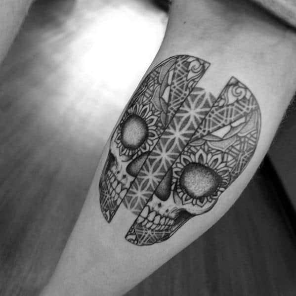 Masculine Smal Skull Ornate Geometric Leg Tattoos For Men