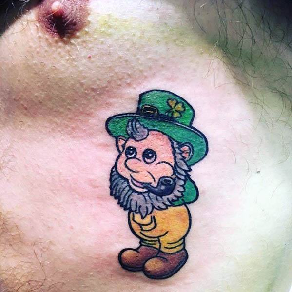 Masculine Small Leprechaun Tattoos For Men On Chest