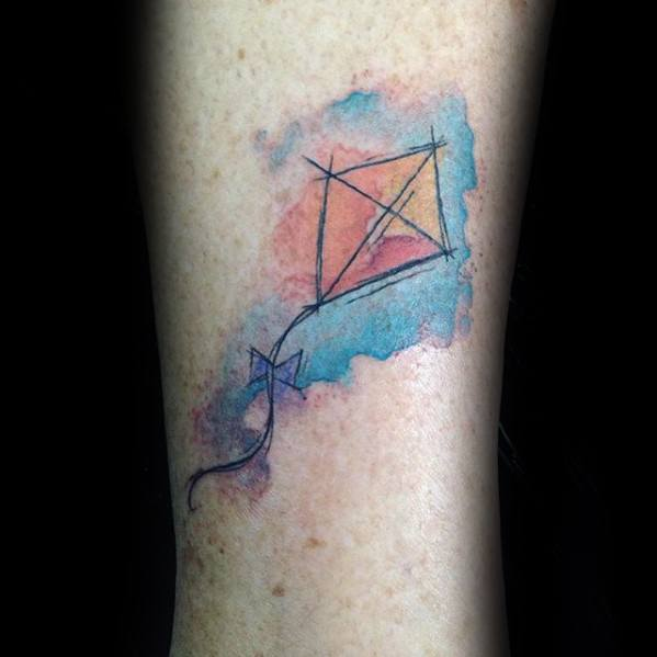 Masculine Small Watercolor Forearm Kite Tattoos For Men