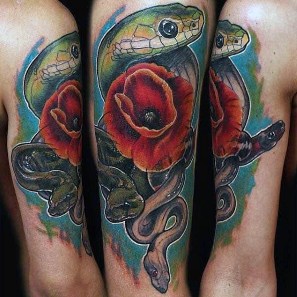 Masculine Snake Poppy Flower Tattoo For Guys On Upper Arm