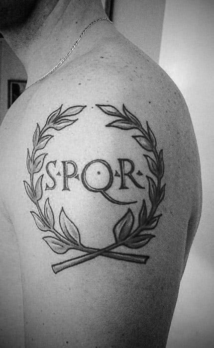 Masculine Spqr Olive Branch Upper Arm Tattoos For Men