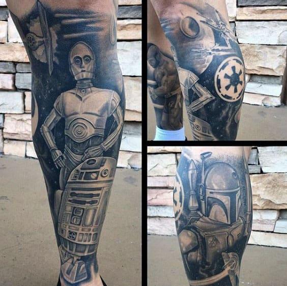 Masculine Star Wars Shaded Rd2d Leg Sleeve Tattoos For Men