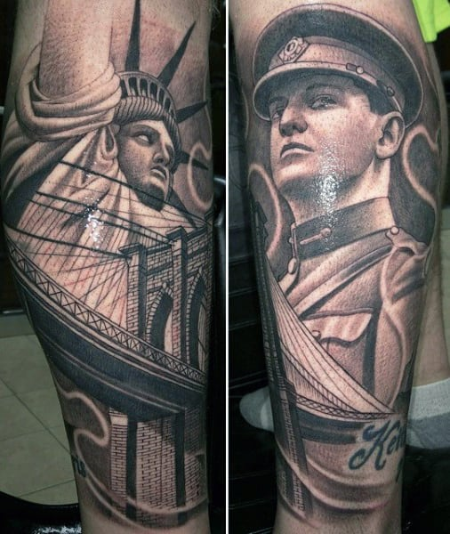 Masculine Statue Of Liberty Tattoos