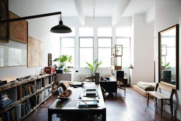 Masculine Stuido Apartment Ideas With Bookshelf
