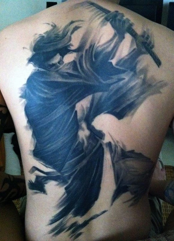 Masculine Tattoos Samurai On The Back