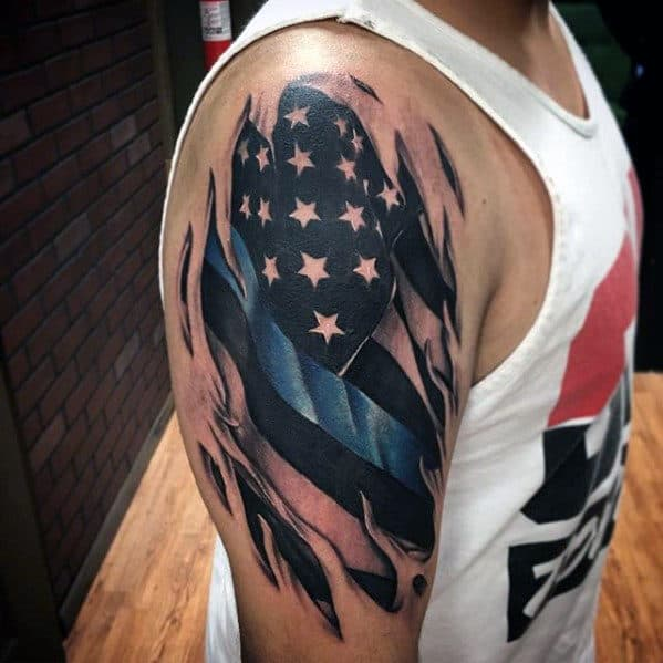 Masculine Thin Blue Line Torn Skin American Flag Tattoos For Men On Arm