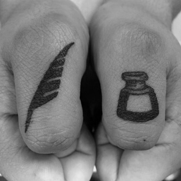 Masculine Thumb Quill Tattoos For Men