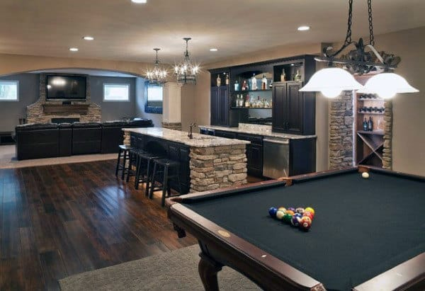 Masculine Traditional Basement Remodel Ideas