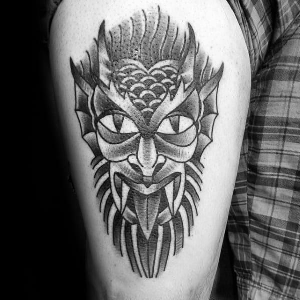 Masculine Traditional Devil Mens Thigh Tattoo Ideas