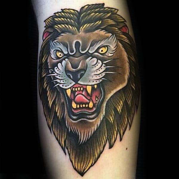 Masculine Traditional Lion Arm Tattoo Designs For Guys