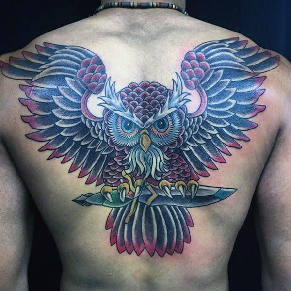 Masculine Traditional Owl With Dagger Back Tattoos For Men