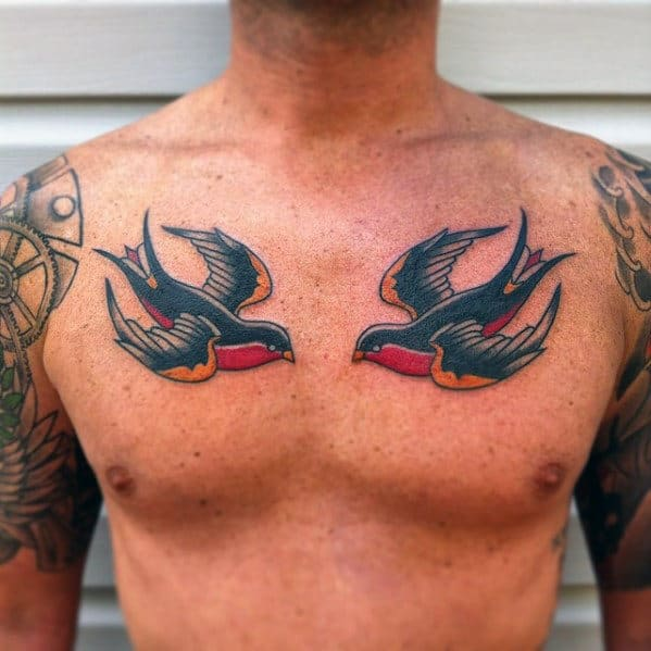 Masculine Traditional Swallows Mens Chest Tattoos