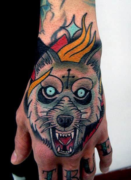 Masculine Traditional Wolf Male Hand Tattoo