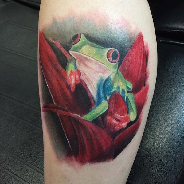 Masculine Tree Frog Tattoos For Men Leg Calf