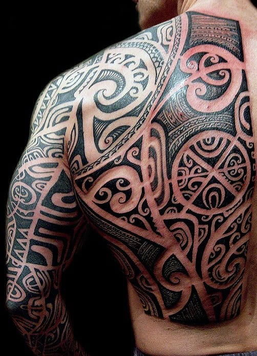 Masculine Tribal Back Tattoos For Men