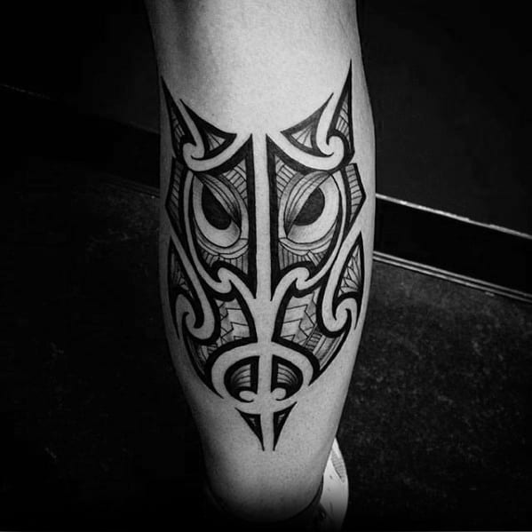 Masculine Tribal Owl Polynesian Leg Calf Tattoo Designs For Guys
