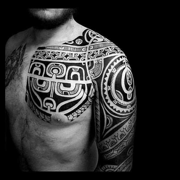 Masculine Tribal Shoulder Male Tattoos