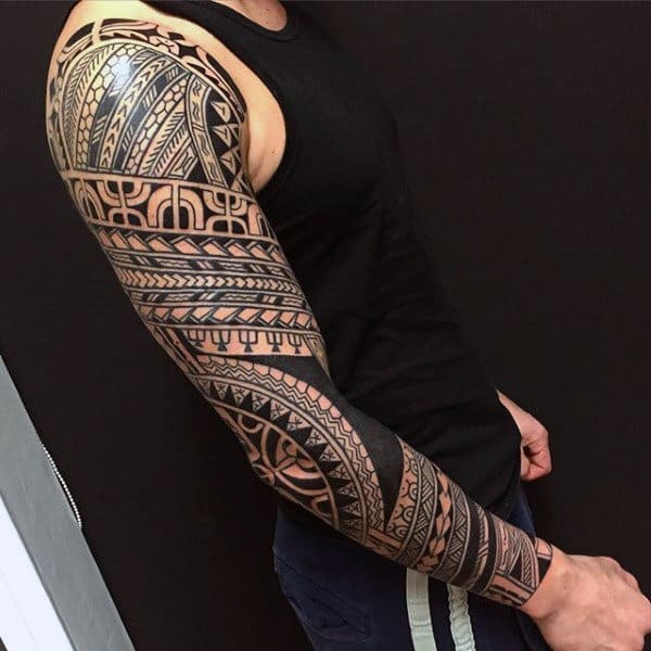 Masculine Tribal Sleeve Tattoos For Men