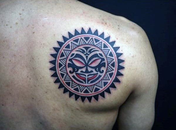 50 tribal sun tattoo designs for men black ink rays. Black Bedroom Furniture Sets. Home Design Ideas