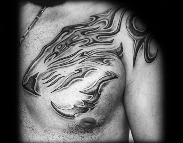 Masculine Tribal Tiger Chest And Shoulder Tattoo Ideas For Men