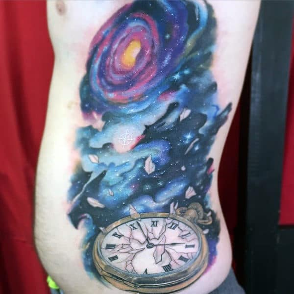 Masculine Universe Tattoo With Timepiece Side Ribs Guys