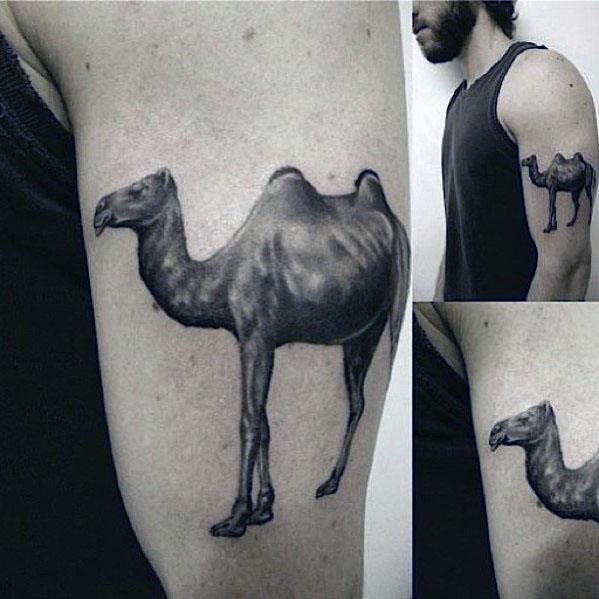 Masculine Upper Arm Guys Shaded 3d Camel Tattoos