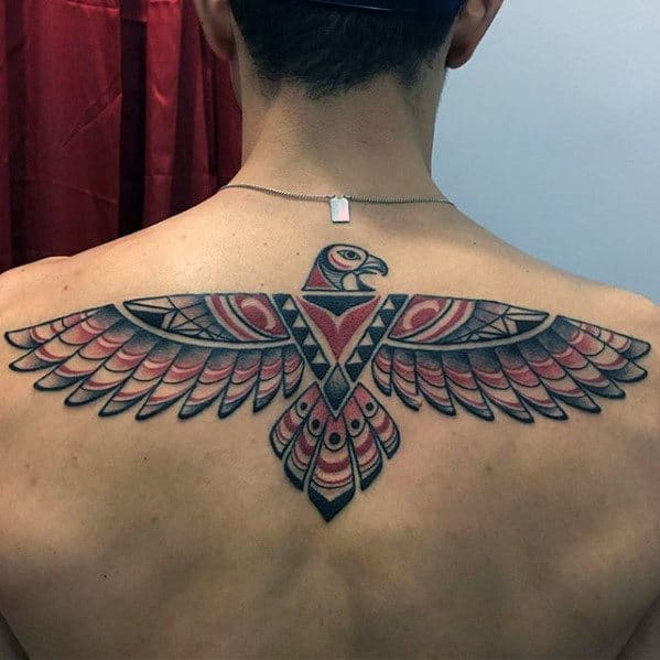 Masculine Upper Back Mens Tribal Bird Tattoo Inspiration