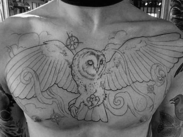 Masculine Upper Chest Mens Black Ink Outline Barn Owl Tattoos