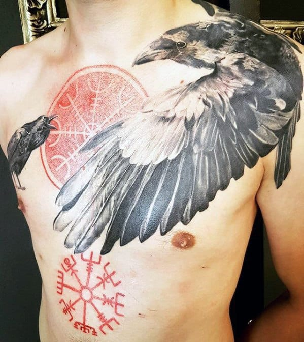 Masculine Viking Compass Guys Chest Tattoo Design With Red Ink