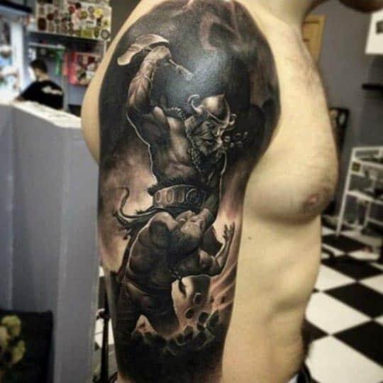 Masculine Viking Cool Dark Black Ink Guys Arm Tattoos