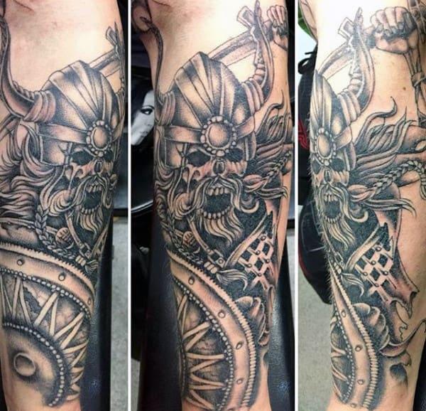 Masculine Viking Ship Tattoos