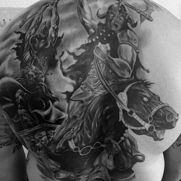 Masculine Warrior On The Battle Field Tattoo Mens Back
