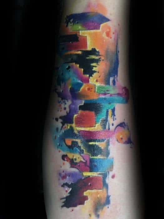 Masculine Watercolor Colorful Dallas Skyline Tattoos For Men