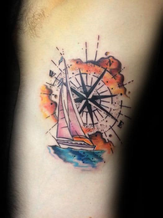 Masculine Watercolor Compass Sailing Boat Mens Rib Cage Side Tattoo