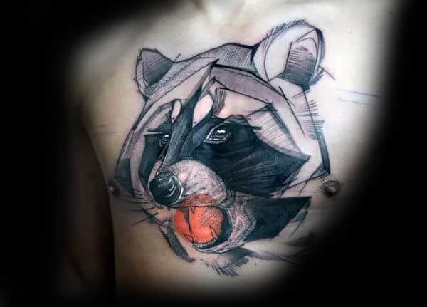 Masculine Watercolor Raccoon With Orange Circle Mens Chest Tattoos