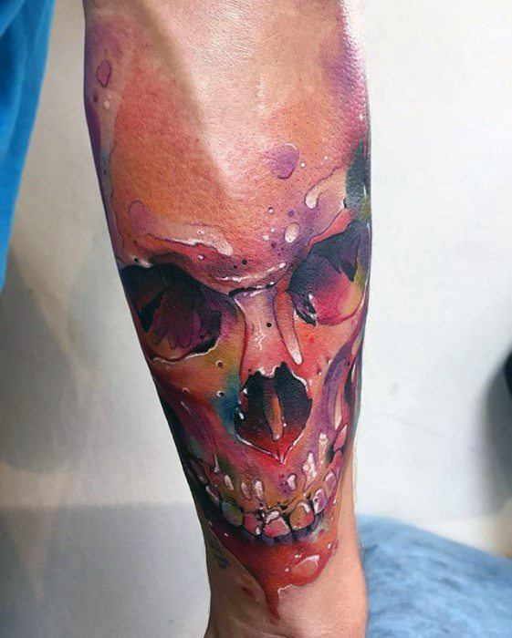 Masculine Watercolor Skull Tattoos For Men On Forearm