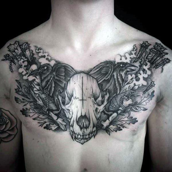 Masculine Wolf Skull Guys Upper Chest Tattoo