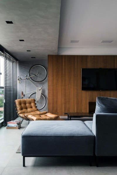 Masculine Wood Tv Wall Design Idea Inspiration