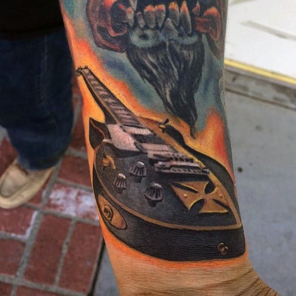 Masculine Wrist Fender Guitar Tattoo