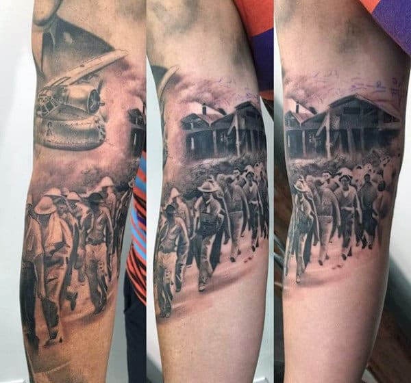 Masculine Ww2 Soliders Mens Inner Arm Bicep Tattoo
