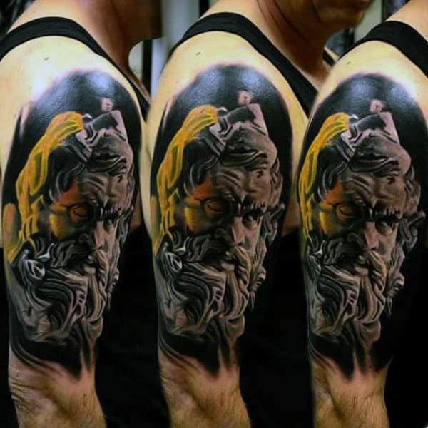 Masculine Zeus Tattoo Design Inspiration For Men On Upper Arm