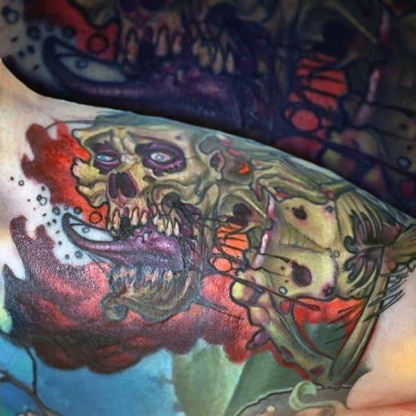 Masculine Zombie Bicep Tattoos For Gentlemen
