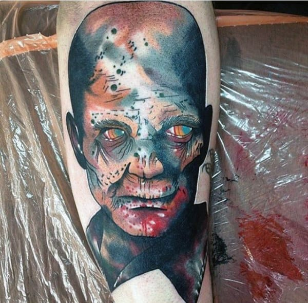 Masculine Zombie Guys Tattoo With Watercolor Ink