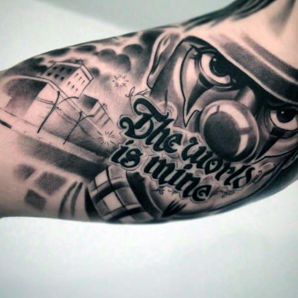 Mask Street Chicano Mens Inner Arm Bicep Tattoo Design Ideas