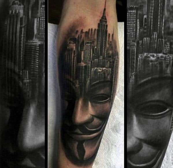 Mask With City Skyline Guys Inner Forearm Tattoo