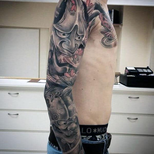 Mask With Foo Dog Mens Japanese Sleeve Tattoo