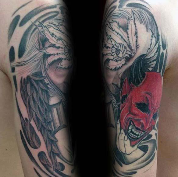 Masked Female Gemini Guys Half Sleeve Tattoo