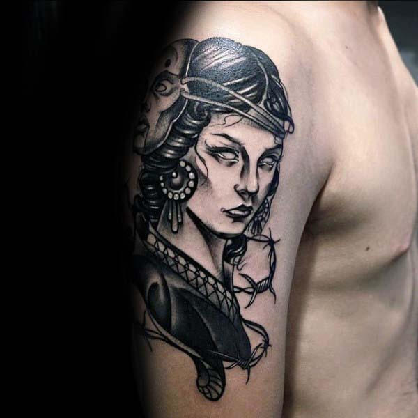 Masked Female Gemini Male Upper Arm Tattoos