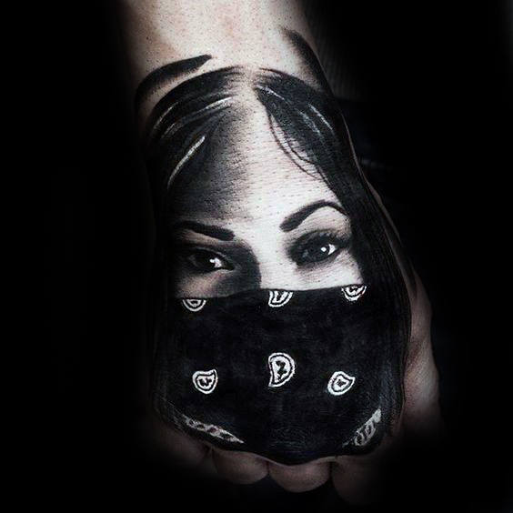 Masked Female Portrait Chicano Hand Tattoos For Men